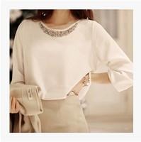 2014 Fashion Smmer Autumn Winter White  Long Sleeves Chiffon Elegant Pearls and Diamond Decoration Blusas Women Office Dress
