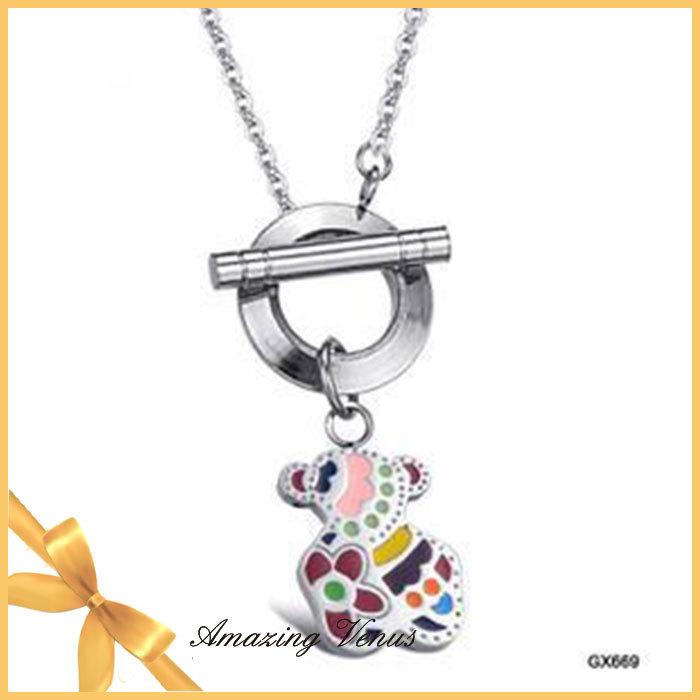 2014 New Arrival Fashion Romantic Cute Teddy Bear Titanium Steel Woman Necklace OPK GX669 Free Shipping