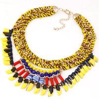 New Design Brand ZA Statement Necklace Neon Handmade Cord Spike Necklaces  & Pendants Choker Colar for Women Jewelry