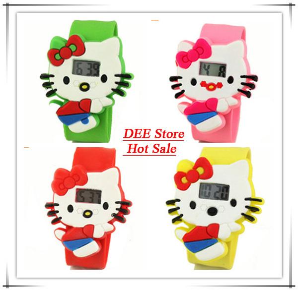 Wholesale - 15pcs mix 6 colors kids slap watch children Hello Kitty 3D cartoon minion watches silicone digital watch Free ship(China (Mainland))