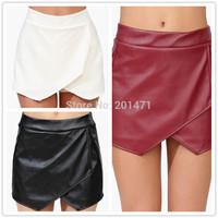 T2367 Free Shipping Solid Black/Dark Red/White Asymmetric Short Skirts Female Skirts Womens Leather Skirt