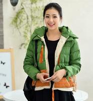 New 2014 female Korean Skinny winter plus size Military outwear down jacket women short hooded thicken coat