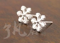 925 sterling silver snow earring stud  free shipping