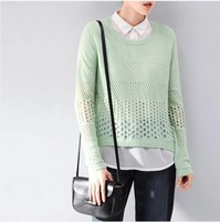 Hot Sale Five Colors Fashion 2014 Autumn New Women's Casual Sweaters  False Two Loose a Long Sleeved Sweater Ladies 9803