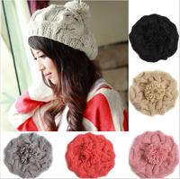 New 2014 Korean Women Winter Hats Fashion Beanies Girls' Warm Wool Twist Knitted Hat For Woman Flowers Cap Accessories Berets