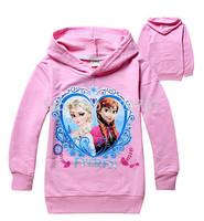 6pcs/lot,2014 Kids Autumn FROZEN Elsa Anna Hooded Long Sleeve children Hoodies cartoon top kids t shirts baby hoody coat QY122