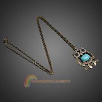 R1B1 Hot Fashion Vintage Blue Jewelery Rhinestone Studded Owl Pattern Long Penda