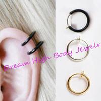 Fake Nose Ring Piercing Clip On Lip Hoop Rings Earrings Silver Steel Black Ear Stud Body Jewelry Punk Round No Hole