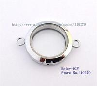 Free shipping 5PCS 30mm Chrome color Plain Round Floating charms Locket Pendant For Locket Bracelet JK12-1
