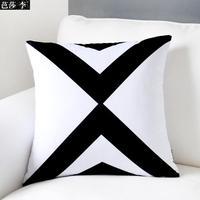 H3139 New Fashion Black White Stripe Chevron Cushion Cover Soft Velvet Sofa Pad Throw Pillow cases Home Decoration Gifts 45x45cm