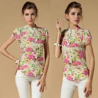 2014 Fashion Women Summer Short Sleeve Blouses Size M-XXL Women Printing Chiffon Shirts Blusas Femininas 3 Colors Free Shipping