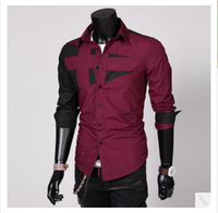 Hot Sales! New Arrival High Quality Men's Shirts Stitching Casual Shirts Turn-down Collar Long-sleeved Shirt 4 Colors