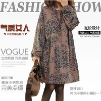2014 latest FASHION STYLE  DRESSES National trend autumn women's fluid loose plus size print long-sleeve dress free shipping