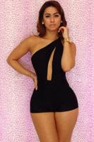 Black Sexy Club Jumpsuits 2015 Summer Woman 1 Shoulder Rompers and Jumpsuit Bandage Short Jumpsuit Club Woman Bodycon Jumpsuit