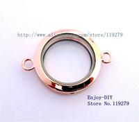Free shipping 5PCS 30mm Rose gold color Plain Round Floating charms Locket Pendant For Locket Bracelet JK12-3