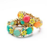 fashion bracelet for women 2014 hot selling Elastic flowers quietly elegant is candy color bracelet Summertime joker