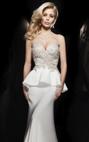 Designer Beaded Strapless Sweetheart Lace Applique Mermaid Floor Length White Evening Gown