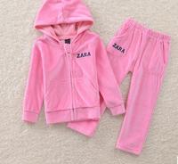 Retail 2014 Autumn new children's clothing boys and girls sports suit children big boy velvet piece Free Shipping