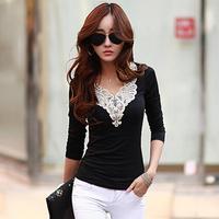 Autumn Women Clothing Long Sleeve V-neck Lace Collar Cotton Tops Vintage Bodycon Elegant Basic T Shirt Blusas Rendadas A101