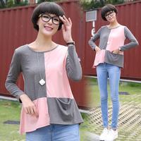 Tx679 autumn long-sleeve o-neck patchwork pocket long-sleeve T-shirt female