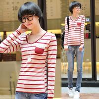 Tx613 2014 autumn sweet stripe women's laciness basic shirt V-neck long-sleeve T-shirt female