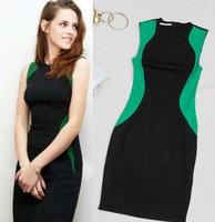 Free shipping New 2014 women Fashion Celebrity Brand Plus Size S-XL Sleeveless Elegant Knee-Length Stretch Bodycon Casual Dress