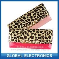 2014 NEW DESIGN woman leopard wallet purse female fashion notecase freeshipping