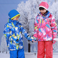 Free Shipping New fashion boy /girl windproof warm ski padding jackets winter snow suit outdoor wear children's skiing jacket