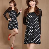 2014 XXXL size Better fabric made mm plus size plus size long-sleeve polka dot  dress long sleeve women dresses FREE SHIPPING