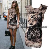 3050 New Womens Sexy Animal Leopard Print Sleeveless Bodycon Cocktail Dress Slim Fit Mini Party Dress Cheetah Pencil Dress