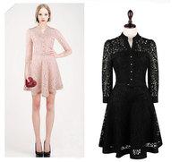 2014 New Fashion Women Empire 3/4 Sleeve long Vintage Button Patchwork Bodycon Crochet Floral Lace Party Dresses Plus Size S-XL