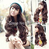 Fashion Ladies Natural wig brown for women Big wavy hair wig