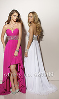 free shipping sweetheart Asymmetrical crystal prom dress high quality sweetheart chiffon prom dress custom made
