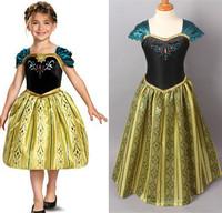 2014 New Girls Frozen Dress Anna Coronation Quality Party Halloween Dress Fashion Christmas Fancy Dress Princess Kids Dress