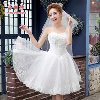 Fashionable New Sweet Flower One Shoulder Lace Short Wedding dress 2014 white vestido de casamento bride dress bridal gown  W93