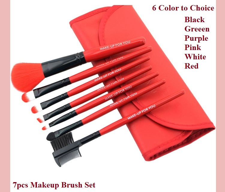 New 2014 Women Multicolor Makeup Brush Set 7pcs/set Professional High Quality With PU Bag Eyebrow Comb Sable Hair Free Shipping(China (Mainland))