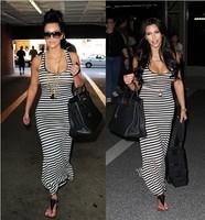 Women Summer Dress 2014 Tank Top Ankle Length Long Maxi Dress Ladies Striped Celebrity Party Casual Dress Vestidos