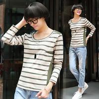 Tx611 2014 autumn female cotton patchwork stripe o-neck long-sleeve T-shirt female