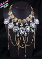 2014 Newest Design Statement Choker Pendants High quality Elegant Za Brand Crystal Necklace Vintage Shourouk Jewelry 2784