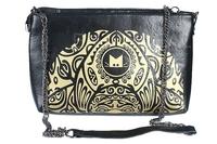 Fashion Ladies PU Leather with Printing Pattern Messenger Bag Shoulder Bag