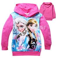 2014 Kids fashion FROZEN Elsa Anna Hooded Long Sleeve children Hoodies cartoon top kids t shirts baby hoody coat QY123,6pcs/lot