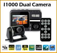 100% Original Car DVR Camera Recorder I1000 Dual Lens HD 720P 30FPS G-Sensor H.264 2.0'' LCD 120 degree Cash Cam (CDC-14)