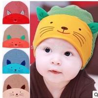 100pcs New Baby Cap Fashion Infant Hat Boys & Girls Skull Cat Hats Kids Hats Children Cotton Homies Animal Caps free shipping