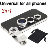 Wholesale Universal 3in1 Clip-On Fish Eye Lens Wide Angle Macro Mobile Phone Lens For iPhone 4 5 Samsung  S4 S5 Silver DHL Free