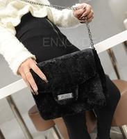 Fashion Lady Artificail Fur Plush Tote Shoulder Messenger Bag Handbag Black