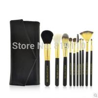 10 pcs Brand Makeup Brushes kit Goat Hair Professional Beauty Base Travel brush set Comestic styling tools Make up Leather  Bag