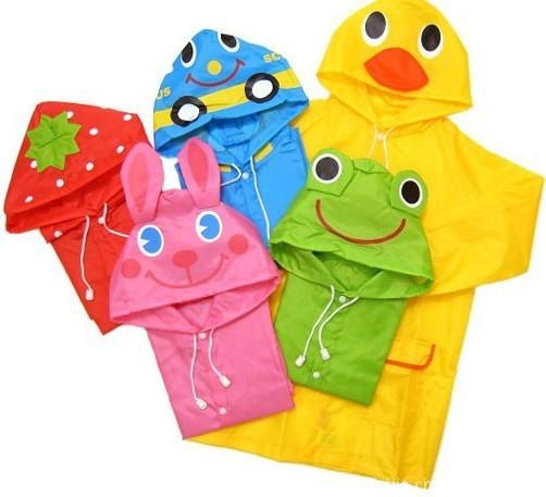 Kids Children Funny Raincoat Cartoon -Auto-Duck-Bunny-Frog Animal Style Poncho 5Colors(China (Mainland))