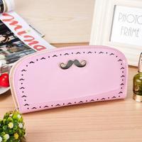 2014 new vintage Pu leather long women wallet card coin purse affandi pattern moustache colorful handbag beard wallets
