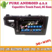 Android Car DVD Meida Player Sat Nav Support 3G Wifi GPS Radio Video Input Camera Input iPod Bluetooth TV SWC For Honda Fit 2014