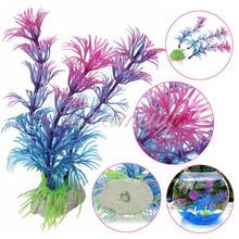 Artificial Plastic Grass Fish Tank Ornament Water Plant Aquarium Decor Purple Free Shipping(China (Mainland))